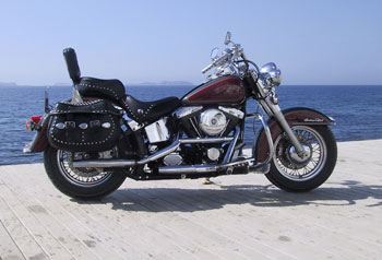 Harley Davidson Heritage Softtail in San Antonio Bay